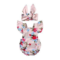 2PCS Ruffles Floral baby clothing Toddler Baby Girls Romper Jumpsuit Headband Outfits Clothes