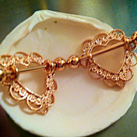 Gorgeous ROSE GOLD Filigree Heart Nipple Shield Rose Gold Plated, 14g, Removable Stand Alone Barbell 19mm