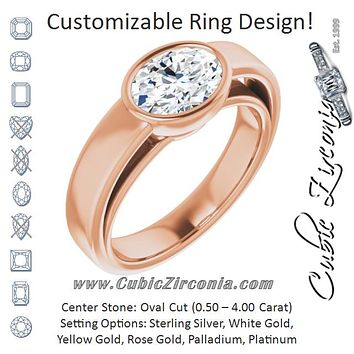 Cubic Zirconia Engagement Ring- The Dunyasha (Customizable Cathedral-Bezel Oval Cut Solitaire with Wide Band)