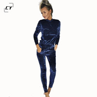 Velvet Jumpsuit Rompers 2017 Spring Bodysuit Gold Velvet Long Sleeve O Neck Sexy Rompers Womens One piece Jumpsuits