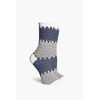 Current DC Crew Socks - White & Charcoal Gray Chevron Print