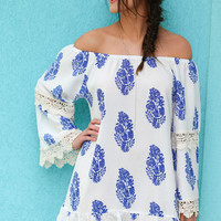 Santa Monica Pier White & Royal Blue Floral Print Tunic Dress