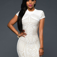 Vintage Cut Out Short Sleeve Crochet Bodycon Dress