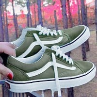 Tiktoki1 Vans Old Skool Classics  Skate shoes  Sneaker Army green