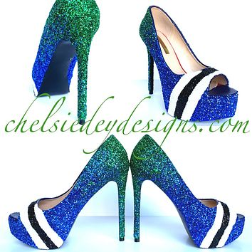 Vancouver Canucks Peep Toe Glitter Pumps - Green Blue Open Toe Heels - Hockey High Heels