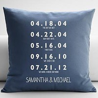 personalized couples key dates throw pillow cover from RedEnvelope.com