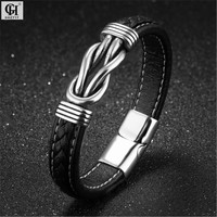 Men Stainless Steel Genuine Leather Magnetic Buckle Bracelet Bangle Punk Cortex Bracelets For Men's Jewelry Pulseira Masculina