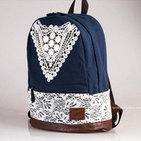 Blue Canvas Backpack With Lace