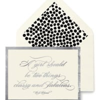 A Girl Should Be Two Things Classy And Fabulous Greeting Card, Single Blank Card or Boxed Set