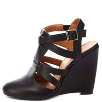 Qupid Strappy Closed Toe Wedges by Charlotte Russe - Black