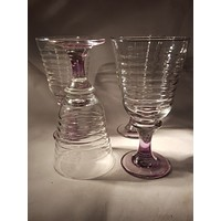 Libbey Sirrus Harlequin Water Goblets with Purple Stems