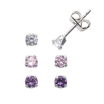 Charming Girl Sterling Silver Cubic Zirconia Stud Earring Set - Made with Swarovski Zirconia - Kids (Pink/Purple/White)