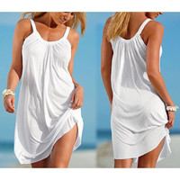 Women Summer Loose Dress Sleeveless Beach Casual Sling Dresses Female Sexy Women Clothing plus size LJ3775M