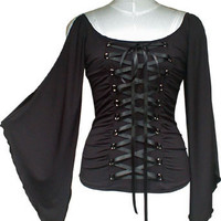 Black Lace up Corset Top