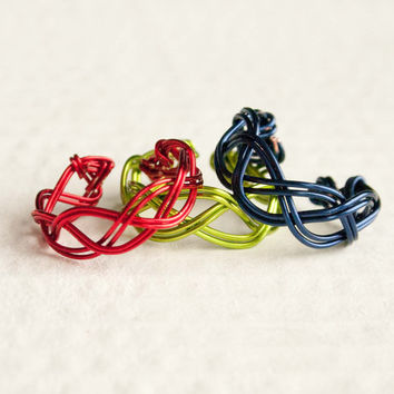 Red, Navy, Lime Adjustable Braided Ring, Wire Wrap Ring
