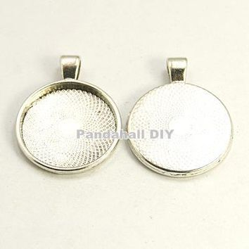 100pcs Metal Alloy Pendant Cabochon Settings DIY Findings for Jewelry Making 36x28x3mm, Hole: 4mm; Flat Round Tray: 25.5x25.5mm.