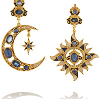 Percossi Papi - Gold-plated sapphire, kyanite and pearl earrings