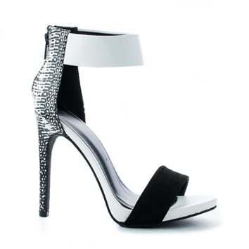 Evelyn18A Open Toe Snake Print Ankle Cuff Stiletto Pumps