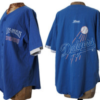 90s LA DODGERS Baseball Jersey, Dated 1992 Dodger Blue Soft Shirt Mens Size Medium, Gangster Lean early 1990s Los Angeles Vintage California