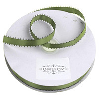 Picot-edge Double Faced Satin Ribbon, 3/8-Inch, 50 Yards, Moss Green