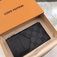 Kuyou Lv Louis Vuitton Gb19710 N64038 Damier Graphite Canvas Small Leather Goods Key & Card Holders Coin Card Holder  8.0 X 14.5 X 1.0 Cm