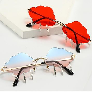 New rimless sunglasses personality lightning cloud ladies party glasses Stockings Shoes Dress Bikini bag