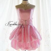 Symphony Loved Queen - Light Pink Bubble Cocktail Prom Party Wedding Homecoming Bridesmaid Bridal Dress