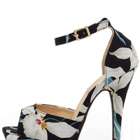 High Altitude Dark Navy Blue Floral Platform Heels