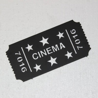 Cinema Movie Ticket with Stars Home Theater Decor Metal Wall Sign