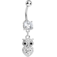 Clear Gem and Paved Heart For the Love of Owls Dangle Belly Ring | Body Candy Body Jewelry
