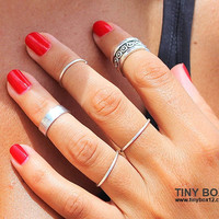 5 Cute Stacking Rings - Silver Ring - Knuckle Rings -  Midi Rings - Set of 5 Stackable Rings by TinyBox12