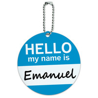 Emanuel Hello My Name Is Round ID Card Luggage Tag