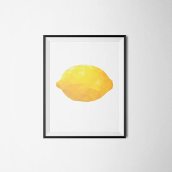 Printable poster, Instant download, Lemon poster, Geometric poster, Kitchen poster, Kitchen art, Fruit poster