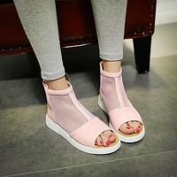 Mesh Sandals Boots Back Zipper Women Shoes