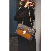 Bunchsun LV Louis Vuitton Classic Popular Women Shopping Leather Metal Chain Handbag Shoulder Bag Brown