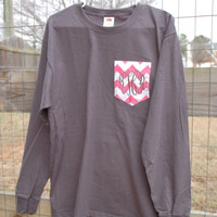 Long Sleeved Monogrammed Fabric Pocket T Shirt/Tee Monogrammed Pocket Tshirt