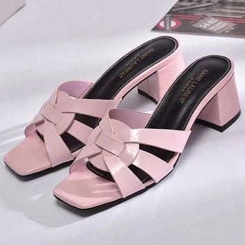 YSL Women Fashion Leather Sandals Heels Shoes
