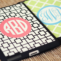 iPad 2/3 smart case - monogrammed, snap-on case with fold-up stand - magnetic closure sleeps/wakes the iPad automatically