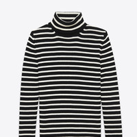 Saint Laurent Turtleneck Sweater In Black And Ivory Striped Cotton And Wool | ysl.com