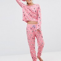 Chelsea Peers Christmas Skiing Penguins Pyjama Set with Eyemask in Gift Box at asos.com