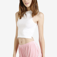 Perforated Pink Velvet Running Shorts By Rojas