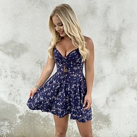 Feel Good Floral Navy Blue Skater Dress