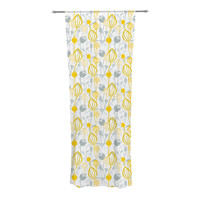"Julie Hamilton ""Willow Wisp"" Yellow Gray Decorative Sheer Curtain"