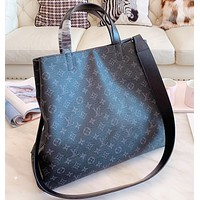 LV Louis Vuitton Fashion New Monogram Print Leather Shoulder Bag Women Handbag Black