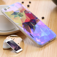 Art Print 3D Diamond Deer Case For Apple iPhone6 6s/6 Plus 6S Plus Transparent Blue Ray Shell Case For iPhone 6S Plus Back Cover