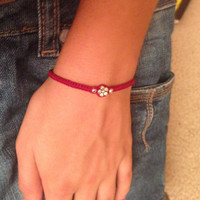 Burgundy Friendship Bracelet with Silver Flower Bead