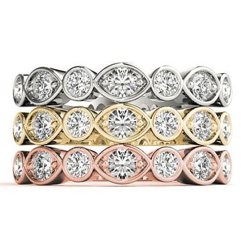 Stackables 1/2 Eternity Tri-Tone Gold Marquise Bezel & Round Bezel with Diamonds 3-Band Set Selectables