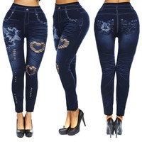 Women's Sexy Close-fitting Imitated Denim Jean Hollowed Leggings (Size M Color Hollowed Lily) (Size: M, Color: Blue) = 1929617284