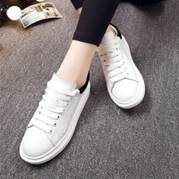 All-match Casual Multicolor Thick Bottom Small White Shoes Genuine Leather Women Shoes Plate Shoes