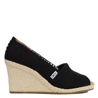 TOMS Black Canvas Peep Toe Wedge Sandals